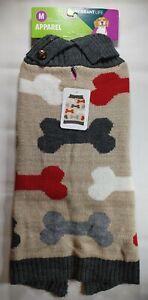 Vibrant Life Beige Dog Bone Print Dog Pet Sweater Apparel Size M