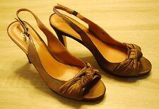 Size 9 Beverly Feldman Heels Gold Bronze Satin Open Toe Formal Stilettos 4 in