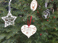 Wooden,acrylic Christmas personalised bauble decoration tree ornament star heart