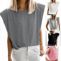Women Sleeveless Shoulder pad T-shirt Top Striped Casual Loose Summer Blouse