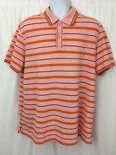 Hugo Boss Slim Fit Cotton Polo Shirt Striped Orange Short Sleeve Size XXXL
