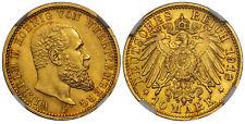 GERMAN STATES Wurttemberg Wilhelm II 1913-F AV 10 Mark NGC MS64+