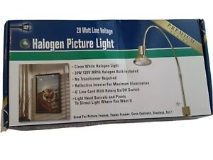 "Good Earth19"" Halogen Picture Light Premium Brass 20-Watt Bulb  Pivots 6 Ft Cord"