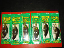 Wee Brush Baby 1/4 oz. Silver/Black Top Bass Fishing Lures Box of 6