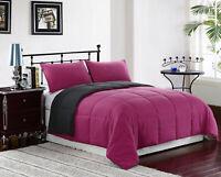 SupraSoft 3Pcs Down Alternative Comforter (Pink/Grey, King)