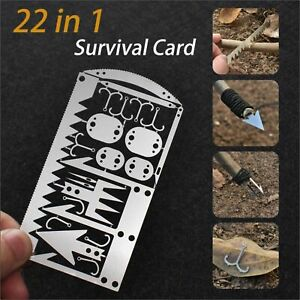 EDC 22 in 1 Survival Card SILVER Tactical Hunting Utility Emergency Hiking Tools