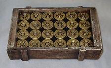 Shotgun Shell Soap Dish 12 Gauge Crate Look Brown Gold Tone New Hunting Hunters