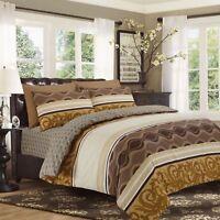 Reversible 4Pcs Duvet Set with Fitted Sheet Pillow Case 100% Cotton Beige - 901
