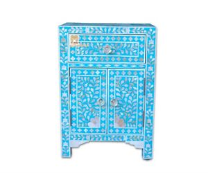Handmade bedside table, mother of pearl floral 1 drawer 2 door turquoise color h