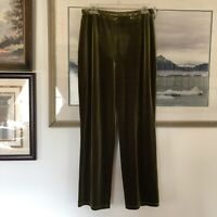 Kate Hill Green Velvet Pull On Pants Sz M A1947