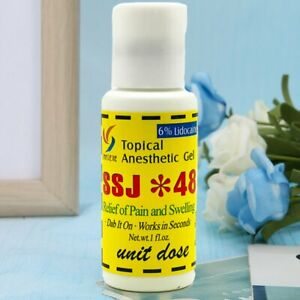 SSJ 48 Topical Anesthetic Gel 6% Tattoo Numbing Permanent Makeup 1OZ (Exp 2024)