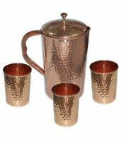 Copper Water 1 Pitcher jug & 3 Glasses Set For Drinking Water Indian Ayurveda