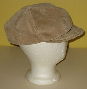 WILSONS LEATHER BEIGE SUEDE NEWSBOY CABBIE CAP HAT WOMENS SIZE S/M SMALL MEDIUM