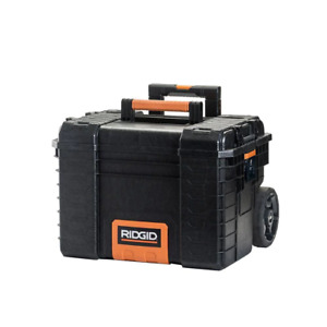 RIDGID Heavy Duty Tool Box 22 in. Lid Strike Lockable Weatherproof Wheeled Resin
