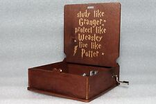 Study Like Granger Protect - Harry Potter Music Box - Hand Crank Engraved Wooden