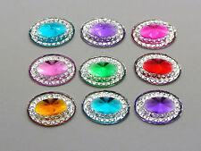 100 Mixed Color Acrylic Flatback Oval Rivoli Rhinestone Gems 14X10mm Pyramid
