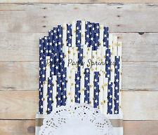 50 Navy Blue and Gold Star Straws Hanukkah, Winter Decor, Boy Birthday Blue