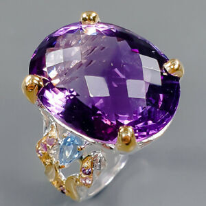 22x17 mm.AAA+ color Amethyst Ring Silver 925 Sterling  Size 8.5 /R162022