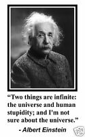 "Albert Einstein "" two things are infinite"" Quote 11 x 17 Poster Photo #bm2"