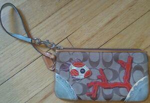 COACH Limited Edition Signature Fish Coral Applique Wristlet purse bag clutch