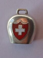 Large Swiss Alpine bell, vintage silver enamel travel charm