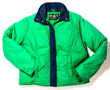 Vintage 90s Womens M Puffer Goose Down Ski Coat Alpine Designs Jacket Green Blue