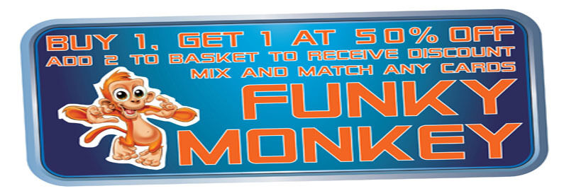 FUNKY MONKEY CARDS-KEYRINGS-MORE