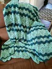 "Handmade Sport Weight Yarn Afghan Blanket  58"" L x 45"" W"