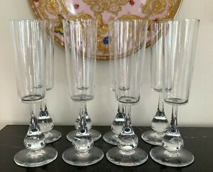 Baccarat Crystal Jose Pattern 8 Fluted Champagne Designed by Boris Tabacoff