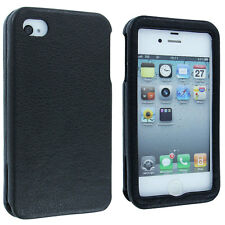 Black Leather Slide In Vertical Case Cover for iPhone 4 / 4S