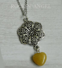 Antique Silver Plt Flower & Yellow Jasper Heart Pendant Chain Necklace Ladies