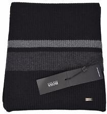 NEW Boss Hugo Boss Men's Esar Black Grey Merino Wool Plaque Logo Scarf Muffler