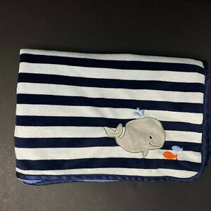 Child of Mine Carters Baby Blanket Whale Blue Stripe Fish Grey Minky Dot Lovey