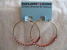 Harajuku Lovers Earrings New Big Hoops Cz Stones Thread Accents Jewelry Nwt