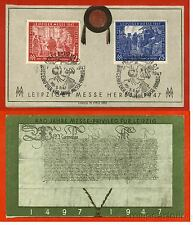 GERMANY, FOLDER, STAMPS LEIPZIGER MESSE 1947, 12 + 75 PF, ANNULS 3 SEPT 1947   m