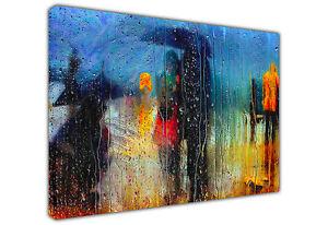 ROMANCE IN THE RAIN LARGE CANVAS PRINT LANDSCAPE / WALL ART OIL PAINTING REPRINT
