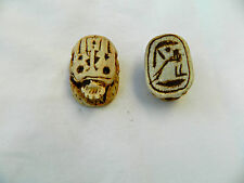 """1 Resin Egyptian Scarab Cut Out Hieroglyphic Tan 1.3"""" Great Quality #S4"""