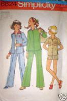 Vintage Simplicity Pattern Pants Shirt Shorts 12 14 SEW