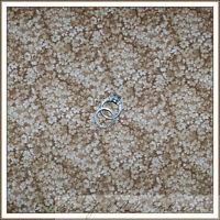 BonEful Fabric Cotton Quilt VTG Brown Tan Cream Calico Flower Blender Tone SCRAP