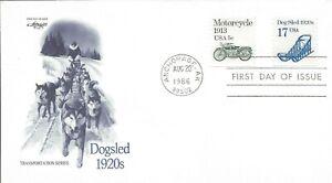1986 FDC #2135 ~ Dog Sled 1920's ~ 17¢ ~ Coil ~ U/A ~ Artmaster ~ Anchorage AK