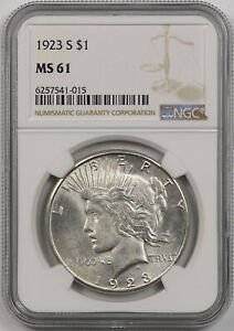 1923-S Peace Dollar Silver $1 MS 61 NGC