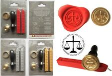 Scales of Justice Wax Stamp Sealing Starter Kit. Melt Handle +2 wax sticks. 148