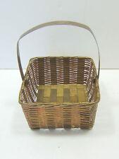 "Brass & Copper Weave Woven Metal Basket - 4 1/2 x 4"" & 2 1/2"" Deep - Flex Handle"