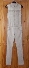 SUPERFINE stone beige grey stretch denim skinny jeans jumpsuit catsuit 8-10 BNWT