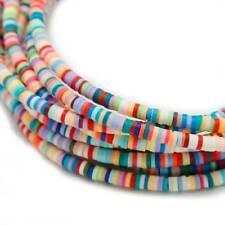 "1 Strand 18"" Handmade Flat Disc Polymer Clay Beads 3/4/5/6mm DIY Bracelet Craft"