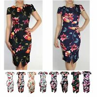 Womens Cap Sleeve Floral Print Asymmetric Peplum Stretch Bodycon Midi Dress