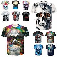 Fashion Men's 3D Print Skull funny T-Shirt Slim fit Casual Short Sleeve Tops Tee