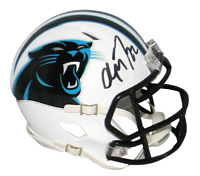 CHRISTIAN McCAFFREY SIGNED CAROLINA PANTHERS WHITE SPEED MINI HELMET BECKETT