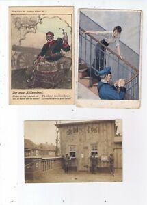 Militaria 1. WK, Feldpostmotive, 3 Karten