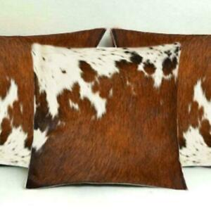 "Cowhide Pillows Cushion Cover Leather Hair on Cow Hide Skin 16"" x 16"" Set of 2"